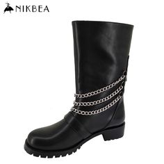 Find More Women's Boots Information about Nikbea 2016 Autumn Winter Punk Western Boots Cowboy Large Size Chunky Heel Riding Boots Leather Long Mujer Black Bota Feminina,High Quality leather heat,China leather recliner sofa electric Suppliers, Cheap leather firm from nikbea on Aliexpress.com
