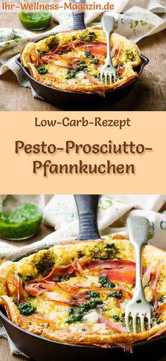 Low-Carb-Rezept für Pesto-Prosciutto-Pfannkuchen: Kohlenhydratarme, herzhafte Pfannkuchen - gesund, kalorienreduziert, ohne Getreidemehl #lowcarb #pancakes #pfannkuchen #abnehmen