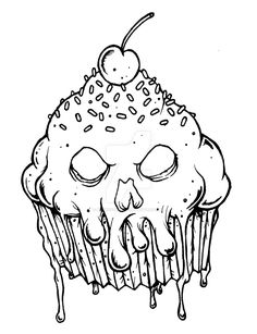 evil cupcake by munkeydmetal watch traditional art drawings macabre cupcake coloring pages