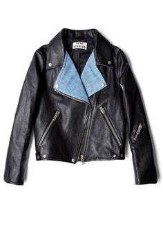A cool leather jacket is even chicer with denim panels (Acne)