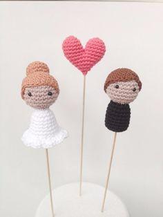 Cake topper / figurine de gâteau de mariage romantique en crochet