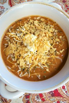 Beefy Nacho Soup - ready in about 15 minutes! Beef, taco seasoning, cheese soup, black beans and Rotel.