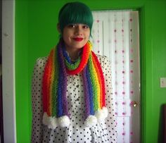 Sophie's dream craft: knitted rainbow scarf