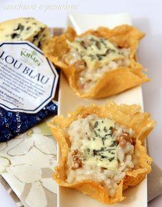 risotto al lou blau, mascarpone e noci in cestini di gran kinara #recipe #juliesoissons