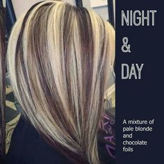 Night and day. A mixture of pale blonde and chocolate foils.