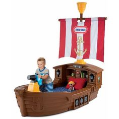 Pirate Ship Toddler Bed .... when the time comes could we build one??? Ben LOVED this bed!