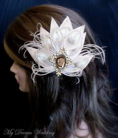 White Peacock with Brooch Hair Piece #winter #wedding #bride