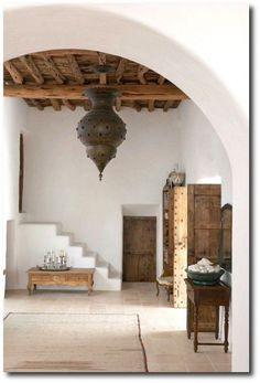 greek Interior, simple whites with natural wooden furniture