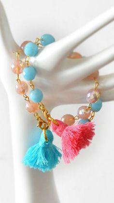 Bohemian Tassel Bracelets Tassel Boho by stellacreations on Etsy