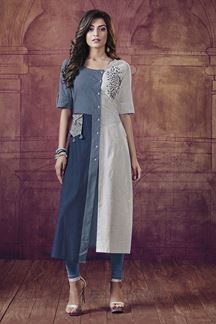 Picture of Blue & off-white designer printed kurti Kurti Designs Party Wear, Kurta Designs, Blouse Designs, Women's Fashion Dresses, Hijab Fashion, Boho Fashion, Linen Dresses, Cotton Dresses, Off White Designer