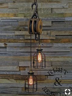 The Wood Wheel Pulley Pendant Light - Rustic Industrial Cage Lighting - Manila Rope swag Ceiling lamp - Edison bulb hanging chandelier Pulley Pendant Light, Rustic Pendant Lighting, Rustic Light Fixtures, Rustic Lamps, Rustic Decor, Rustic Barn, Nautical Lighting, Antique Lighting, Rustic Industrial