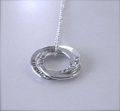 Personalized Circle of Love Family Necklace - 3 Medium Rings with Names - Name Jewelry - Fine Silver Rings by shinyfinesilver on Etsy https://www.etsy.com/listing/68364531/personalized-circle-of-love-family