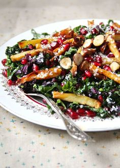 Kale, Pomegranate, and Caramelized Parsnip Salad recipe from PBS Food