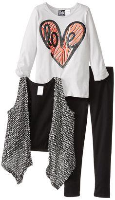 Pogo Club Little Girls' Mary Popcorn 3 Piece Vest Set, Black, Large. Top 60-Percent cotton/40-Percent polyester. Leggings 57-Percent cotton/38-Percent polyester/5-Percent spandex.