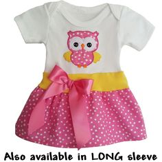 What's cuter than pink polka dots and owls? Your baby girl wearing this adorable owl onesie dress of course! Snap closure bottom hides her ugly diaper and keeps the dress from riding up. http://luckyskunks.com/newborn/454-cute-onesie-baby-dress-with-owl.html
