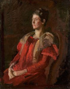 Study for Portrait of Mrs. Charles L. Leonard | From a unique collection of portrait paintings at https://www.1stdibs.com/art/paintings/portrait-paintings/