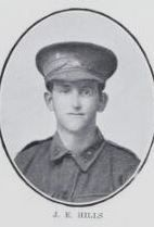 HILLS,   James   Ernest.   Private,   No.   3146,   45th   Battalion.   Was   born   and   educated   in  Maryborough.   He   is   the   son   of   Ernest   Hills  and   Mary   Elizabeth   Hills,   of   Pialba,   Qld.