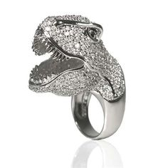 T-Rex Ring Noir for Walt Disney Signature celebrates Fantasia's Anniversary with the T-Rex ring. Ring is solid brass plated in Rhodium or Gunmetal with Cubic Zirconia stones in a pave setting Noir Jewelry, Jewelry Rings, Jewelry Box, Jewelery, Jewelry Accessories, Rings N Things, Diamond Are A Girls Best Friend, T Rex, Disney