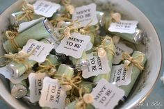 """Mint to be"" bridal shower favors. Cute & Simple."