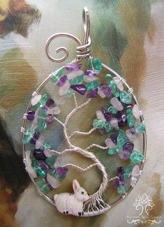 Easter Bunny Tree of Life Wire Wrapped Pendant Egg Oval Apatite Amethyst Rose Quartz