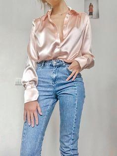 Women silk shirt in peach pink Silk blouse Long sleeve blouse Womens button down shirt Office silk shirt Silk clothing Silk basics Silk top - Fashion City Cool Outfits, Casual Outfits, Winter Outfits, Casual Attire, Casual Jeans, Simple Outfits, Blouse Outfit, Loose Shirt Outfit, Silk Pants Outfit