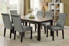 Poundex F2462-1759 7 pc Marleen II collection espresso finish wood marble top dining table set with silver tufted seats