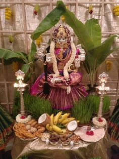 Varalakshmi Vratham 2019 honours the most popular Goddess Maha Lakshmi. Varalakshmi Puja or homam on this day means abundant wealth is sure to come your way. Diwali Decorations, Flower Decorations, Wedding Decorations, Decor Wedding, Wedding Colors, Wedding Flowers, Floral Wedding, Mandir Decoration, Ganapati Decoration