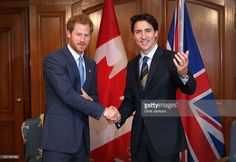 Prince Harry shakes hands with Canadian Prime Minister Justin Trudeau as he attends a bilateral meeting at the Fairmont Royal York Hotel on May 2, 2016 in Toronto, Canada. Prince Harry is in Toronto for the Launch of the 2017 Toronto Invictus Games before heading down to Miami for the 2016 Invictus Games in Orlando.  (Photo by Chris Jackson/Getty Images)