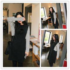 TE2149ALFS Stripes splicing fashion long sleeve dress