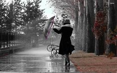 Girl In The Autumn Rain Photography Wallpaper #106794 - Resolution 1920x1200 px