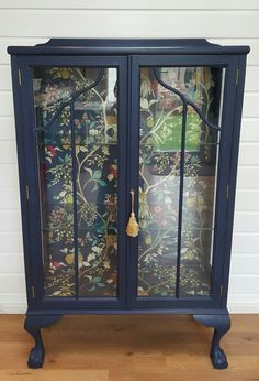 Stunning vintage display cabinet in Frenchic Hornblower with coordinating decoupage lining