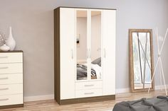 BIRLEA LYNX 4 DOOR 2 DRAWER WARDROBE WITH MIRROR, WALNUT & CREAM