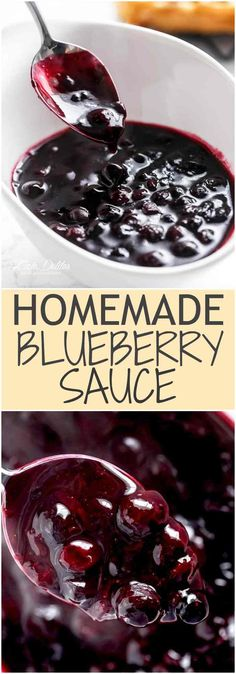 Homemade Blueberry Sauce, perfect for pancakes, sandwiches and desserts! Homemade Blueberry Sauce, perfect for pancakes, sandwiches and desserts!