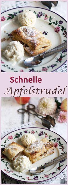 Rezept für einfache und schnelle Mini-Apfelstrudel mit Blätterteig, Cranberries, Mandeln und Äpfeln.Ein schnelles Dessert und ein Traum mit Vanilleeis zusammen.
