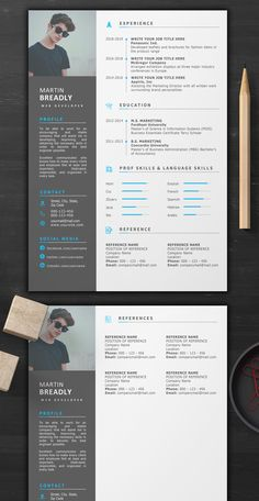 Creative Resume Template - resume - Professional Resume and CV Template Simple Resume, Modern Resume, Job Resume, Resume Ideas, Resume Design, Web Design, Graphic Design, Modern Cv Template, Chronological Resume