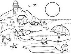 Beach Scene Lighthouse, Umbrella, Beach Ball, Sand Bucket Coloring Page/Line Art Drawing/B&W Image