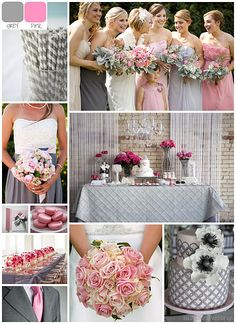 grey and pink wedding colors.......  add some navy blue and it's love   this is kinda like what my sister in laws colors will be.. really excited but love the idea