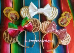 Pan Dulce Concha Minnie ears available in my etsy shop www.etsy.com/shop/lizzyzbowtique or check out my instagram at lizzyzbowtique