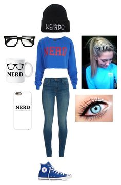 """""""Nerd"""" by xxbeautysparkxx ❤ liked on Polyvore featuring Topshop, J Brand, Converse and Casetify"""