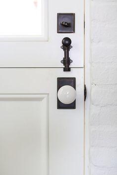 Door Hardware is Emtek ceramic door handles. Door Hardware is Emtek ceramic door handles. Door Knobs, Door Handles, Door Design, House Design, Sliding Barn Door Hardware, Sliding Door, Cabinet Hardware, Cabinet Doors, Interior Barn Doors