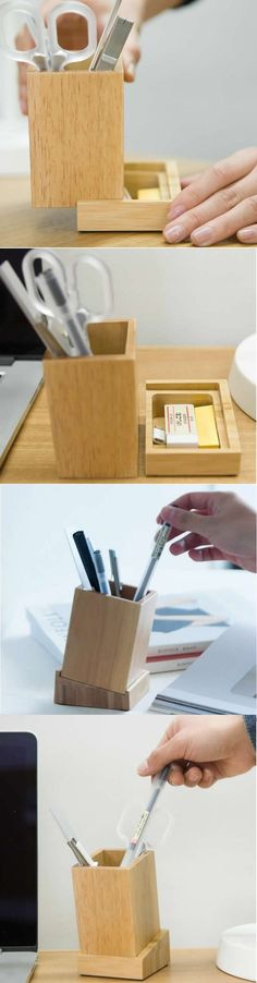 Bamboo Wood Desk Organizer Office Organizer Pencil Pen Pencil Holder