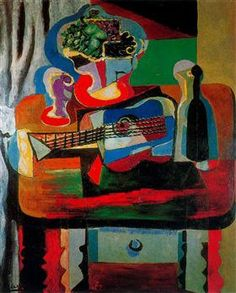 Guitar, bottle, fruit dish and glass on the table - Pablo Picasso