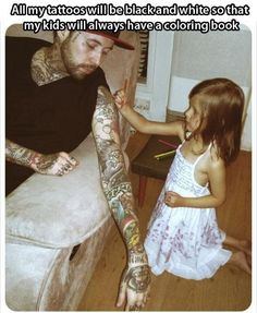 This is so adorable! And I agree. Personally I like the look of just black and white tattoos so much better