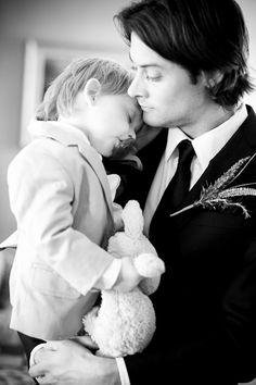 A groom and his sleepy son.