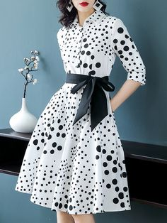 Midi Dress,,Polka Dots,Half Sleeve,Bow,Printed,Belts,Spring/Fall,Summer,Shirt Collar,Mid-weight,Work,Date,合体,A-line,Slightly stretchy,Elegant,Work,Polyester