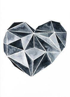 Excited to share the latest addition to my #etsy shop: Wall Art Print, digital, instant download, original watercolor painting, geometric heart, scandinavian art, black and white, abstract http://etsy.me/2DW8iFV #art #printmaking #black #white #wallartprint #printable