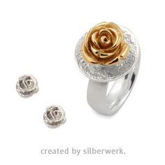Eine Rose passt immer … zum Beispiel auch zum #Muttertag ;-). Unsere Rose gibt es als RING-Top in Silber oder goldplattiert: https://www.silberwerk.de/ringding/24592110-scheibe-vulcan-18mm/combination   Die passenden Ohrstecker gibt es hier: https://www.silberwerk.de/ringding/641710-ohrstecker-rose