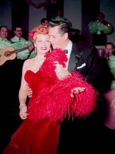Lucille Ball and Desi Arnaz photographed on the set of I Love Lucy, 1952