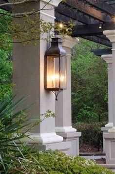 New exterior lighting design gas lanterns ideas Copper Lighting, Patio Lighting, Landscape Lighting, Home Lighting, Lighting Design, Lighting Ideas, Lighting System, Driveway Lighting, Gas Lanterns