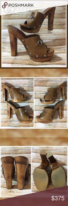 3e804f622a74fb Shop Women s Gucci Brown size Mules   Clogs at a discounted price at  Poshmark. Description  Fantastic cognac leather Gucci platform slide clog  sandals with ...